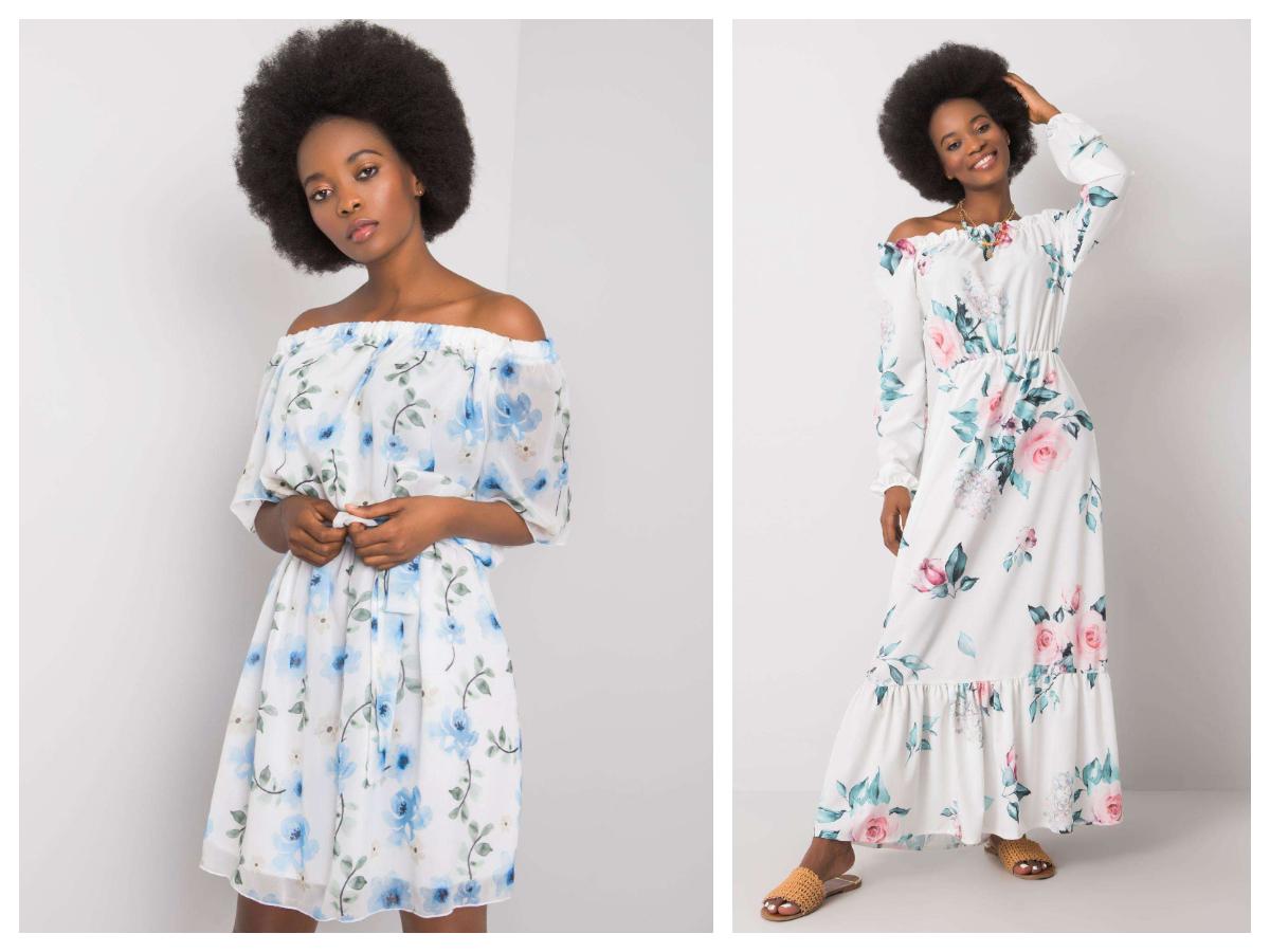 sukienki w kwiaty z odkrytymi ramionami
